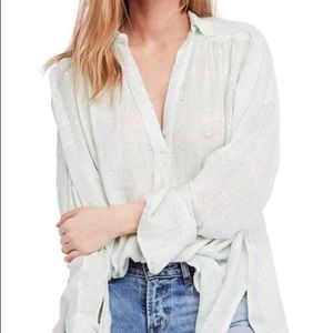 Free People Fearless Love Bell Sleeve Mint Shirt